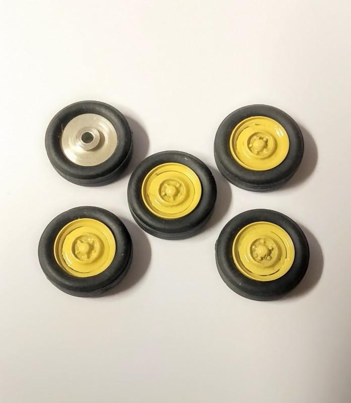 5 roues complètes - Jaune - Alu et White Metal - Ech 1:43
