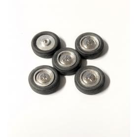 5 roues complètes - Chrome - Alu et White Metal - Ech 1:43