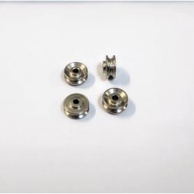 4 Jantes concaves Ø9.50mm en acier traité chrome - DINKY TOYS