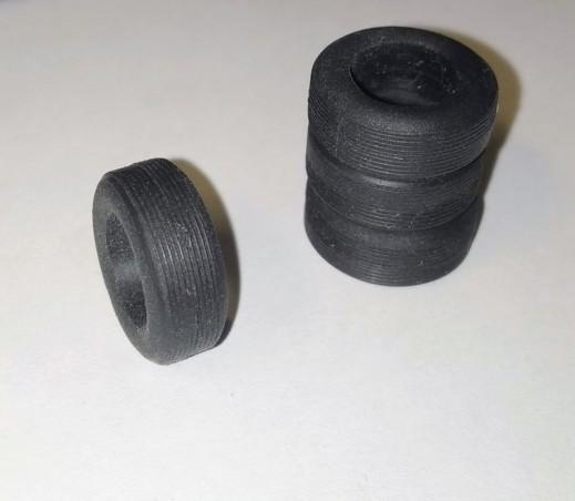 Pneus en résine souple - ø int 9.50mm - Ech 1/43 - Lot de 4