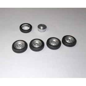 4 complete wheels - Rims ø9.50 mm + insert + tires - Scale. 1/43