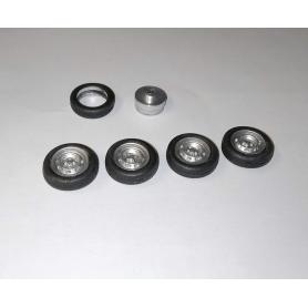 4 roues complètes - Jantes ø9.50 mm + insert + pneus - Ech. 1/43