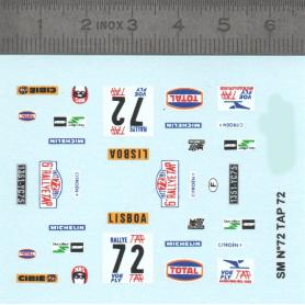 Decalcomania Tour du Portugal - N ° 72 Citroën SM - Scale 1/43