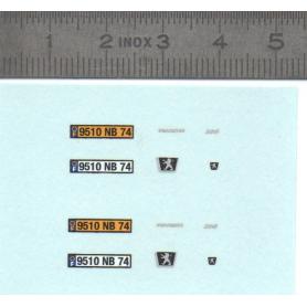"Decal ""Peugeot 206"" registered Haute-Savoie - Scale 1/43"