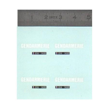 Décalcomanie - Gendarmerie + Plaques - Ech 1:43