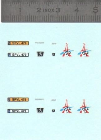 Décalcomanie - Peugeot 206 Pompiers de Paris - Ech. 1:43