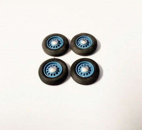 4 roues complètes - Hotchkiss - Bleu - Ech. 1:43