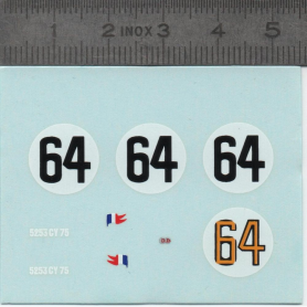 Decal: RENAULT DB N ° 64 LE MANS 1954 - Scale 1:43 - X2