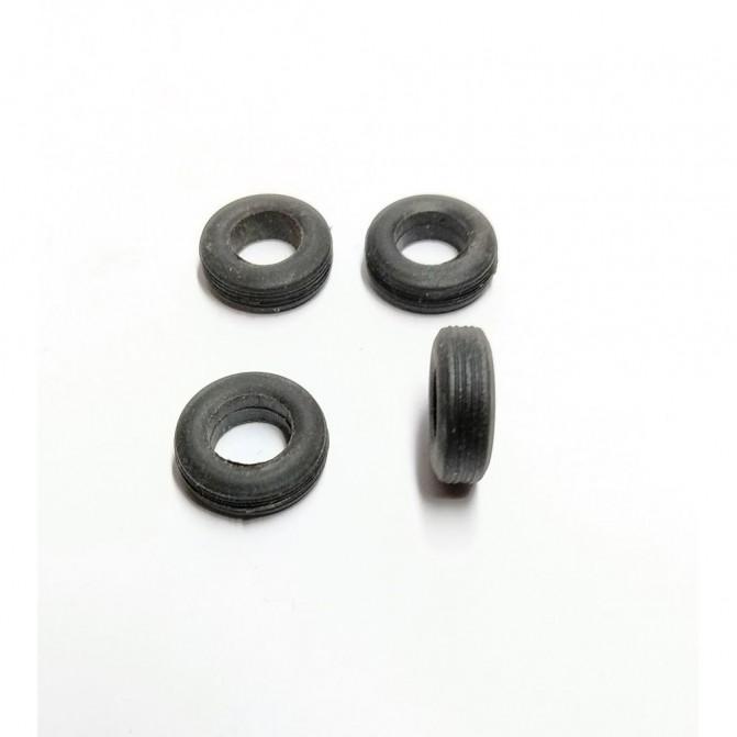 4 pneus en résine souple - ø 14 mm - Ech 1:43