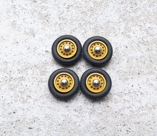 4 roues complètes - Jantes jaunes - Ø16 mm - Ech. 1:43