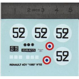 Decalcomania - Renault 4CV - N ° 52 - Ech. 1:43