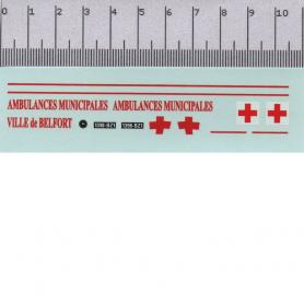Décalcomanie - Ambulance Municipale - Belfort - 1:43