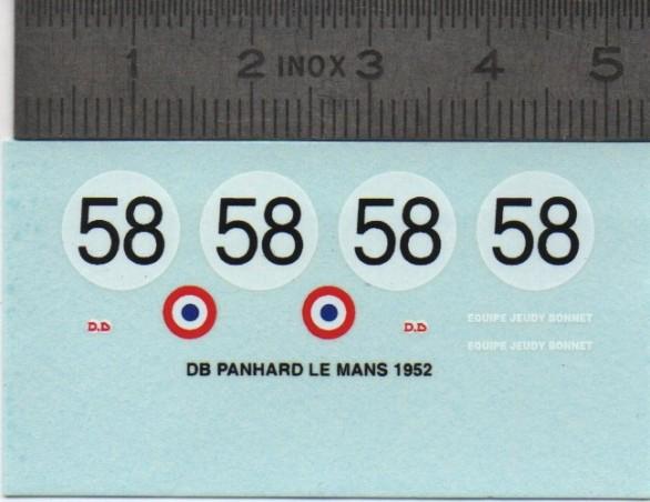 Décalcomanie DB Panhard Le Mans 1952 - Ech. 1:43