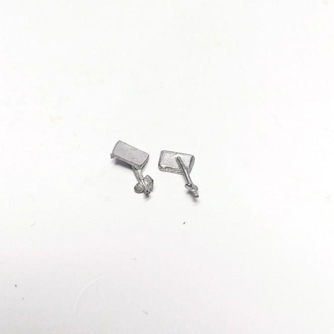 2 Rétroviseurs réctangulaires 5.70x3.70mm - White Metal - CPC Production