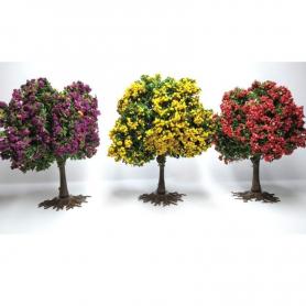 Diorama - 3 arbres fleuris - 3 couleurs différentes - 6/8 cm