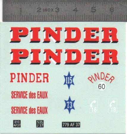 Décalcomanie - PINDER - 1/43ème - Miniatures du Mont-blanc
