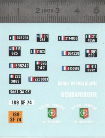 Decalcomania - Gendarmerie Plaques - Ech 1:43