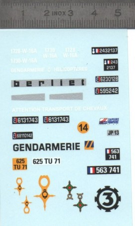 Décalcomanie - Gendarmerie et Beliet - Ech. 1:43