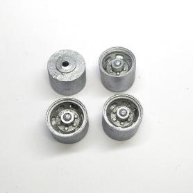 4 roues ø11.60 mm - Résine - Peint en gris - 1:43