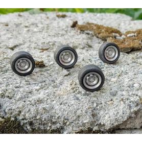 4 roues complètes  - Ø13.40 mm - Ech. 1:43 - Alu et résine