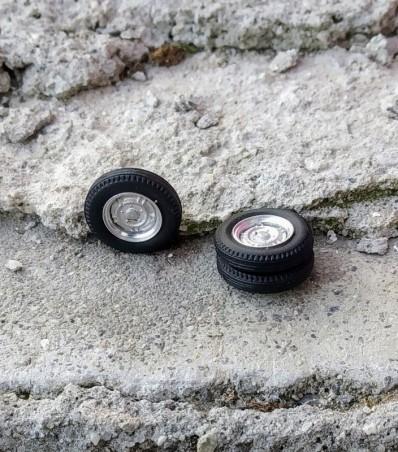 4 roues complètes - Ø15.30 mm - Ech. 1:43 - Alu et white metal