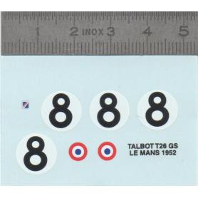 Décalcomanie - TALBOT T26 GS LE MANS 1952 - Ech. 1:43