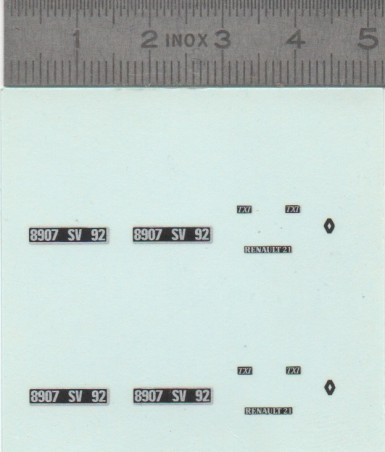 Décalcomanie - Renault 21 TXI - Ech 1:43 - X2