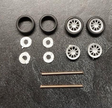 4 roues complètes  - ø15. - Ech. 1:43