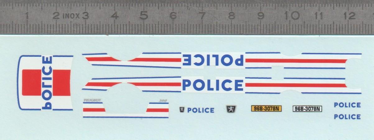 Décalcomanie - Peugeot 306 POLICE - Ech 1:43