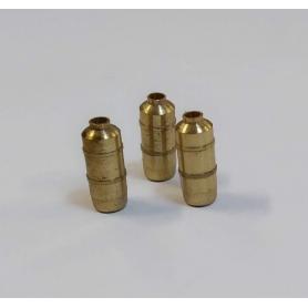 Lot de 3 extincteurs en laiton - Hauteur 9.80 mm