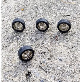 4 roues complètes à rayons Ø 13.80 mm - Laiton chromé - Ech 1:43