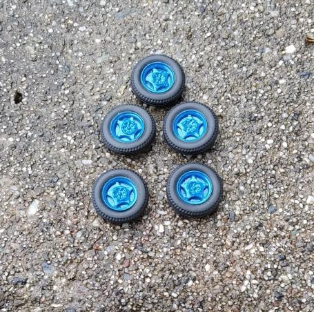 5 roues complètes bleues - Ø 15.40mm  - Ech. 1:43
