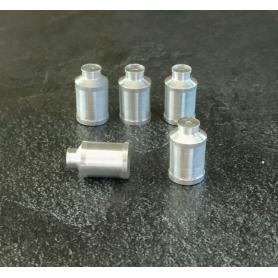 5 Bidons à lait en aluminium - Lg : 13.40mm pour dioramas et miniatures - CPC