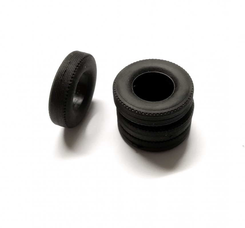 4 Pneus en résine souples - ø24mm - Ech 1:43