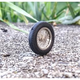 4 roues complètes à rayons Ø 18 mm - Laiton chromé - Ech 1:43