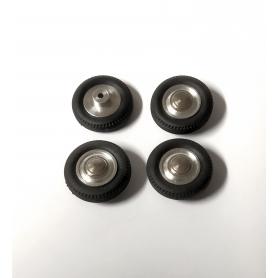 4 roues complètes  ø15.50 mm - à monter - Laiton, alu et résine souple - 1:43