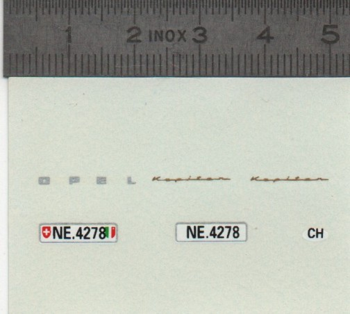 Décalcomanie - OPEL - Plaques Suisse - Ech 1:43