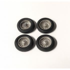 4 roues complètes à rayons Ø 18 mm - Laiton chromé et peint  - Ech 1:43